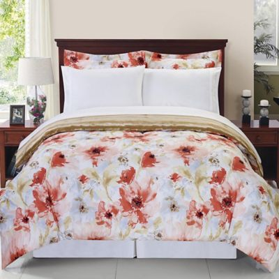 Sonata Reversible 8-Piece Queen Comforter Set in Rose