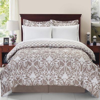 Solano 6-Piece Reversible Twin Comforter Set in Taupe/White