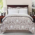 Solano 8-Piece Reversible Queen Comforter Set in Taupe/White