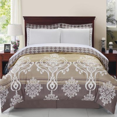 Tamson 8-Piece Reversible King Comforter Set in Gold/Taupe