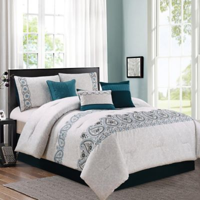 Margo 7-Piece Queen Comforter Set in Teal/Grey