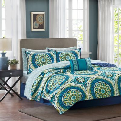 Madison Park Essentials Serenity Reversible California King Coverlet Set in Blue/Green