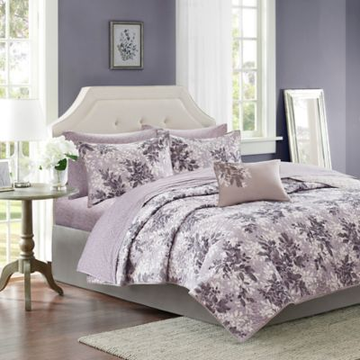 Madison Park Shelby Twin Coverlet Set in Lavender/Grey