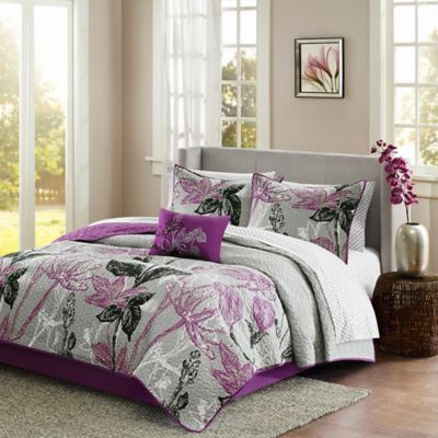 Madison Park Essentials Claremont Reversible Twin Coverlet Set in Purple/Black