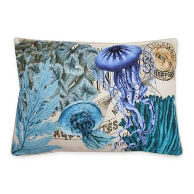 Thro French Coastal Jellyfish Oblong Throw Pillow in Blue