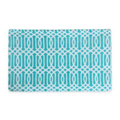 Thro Lattice Print Fleece Throw in Baltic Blue