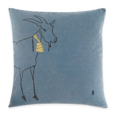 ED Ellen DeGeneres Freestanding Goat Square Throw Pillow in Medium Blue