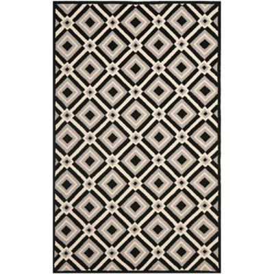 Safavieh Four Seasons Diamonds 6-Foot Square Indoor/Outdoor Area Rug in Black/Grey