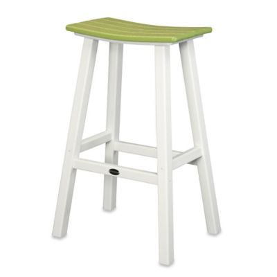 POLYWOOD® Contempo 30-Inch Saddle Bar Stool in White/Lime