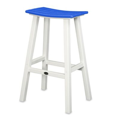 POLYWOOD® Contempo 30-Inch Saddle Bar Stool in White/Pacific Blue