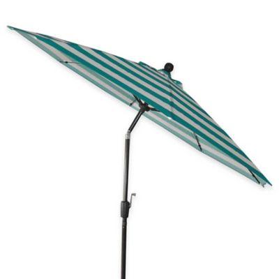 9-Foot Round Aluminum Patio Umbrella in Green Cabana Stripe