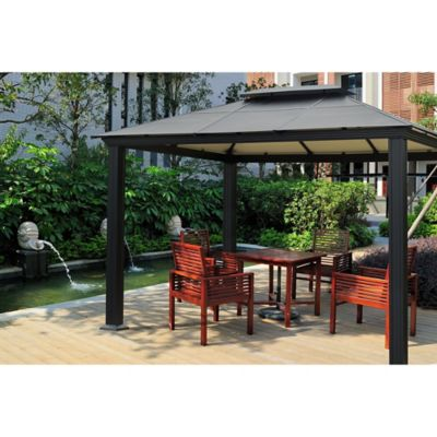 STC 10-Foot x 13-Foot Santa Monica Gazebo in Black