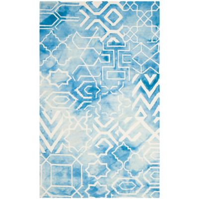 Safavieh Dip Dye Patterns 2-Foot 3-Inch x 8-Foot Runner in Blue/Ivory
