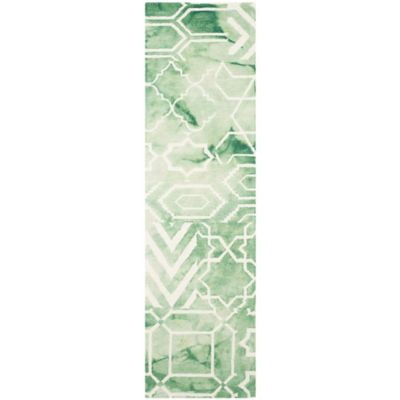 Safavieh Dip Dye Patterns 2-Foot 3-Inch x 9-Foot Runner in Green/Ivory