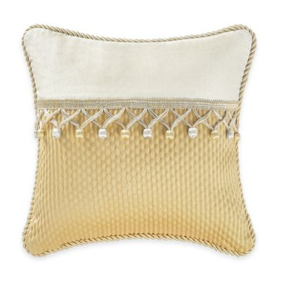 Waterford® Linens Juliette Pieced Square Throw Pillow in Ivory/Gold