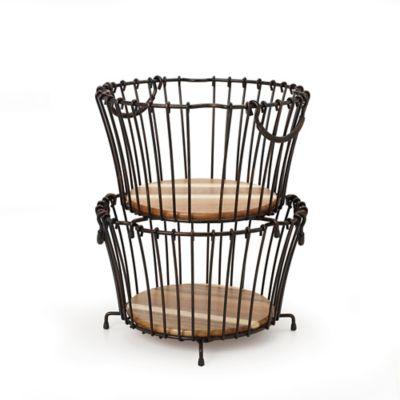 Gourmet Basics by Mikasa® Vintage Round Stacking Basket in Black
