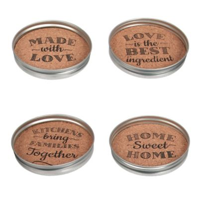 Mason Jar Lid Cork Coasters (Set of 4)