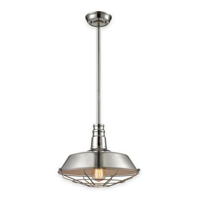Elk Lighting Warehouse 1-Light Pendant Light in Polished Nickel