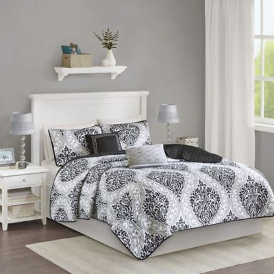 Intelligent Design Senna Twin/Twin XL Coverlet Set in Black/Grey