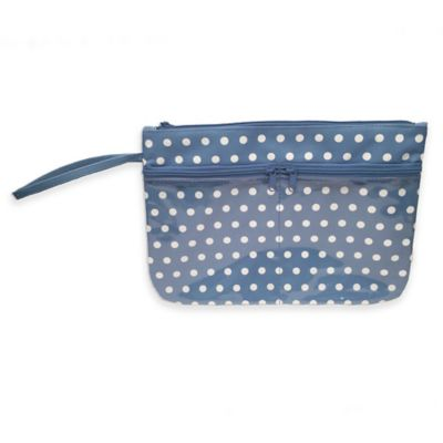 Polka Dot Swimsuit Sack with Clear Vinyl Storage Pockets in Blue