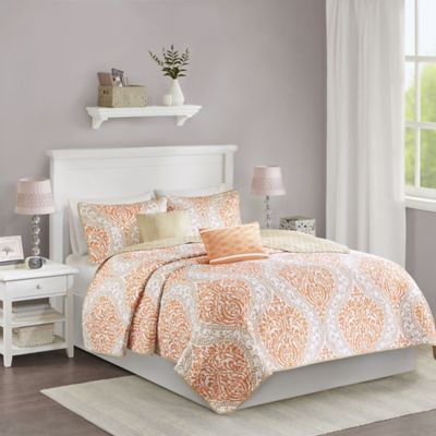Intelligent Design Senna Twin/Twin XL Coverlet Set in Orange/Taupe