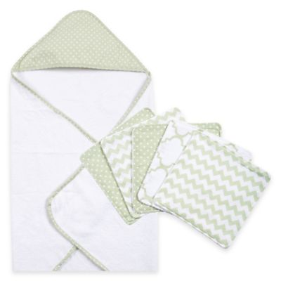Trend Lab® 6-Piece Dot Hooded Towel and Washcloth Set in Sea Foam
