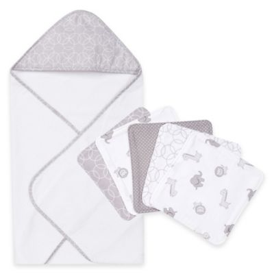 Trend Lab® 6-Piece Grey and White Circles Hooded Towel and Washcloth Set