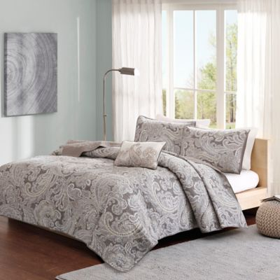 Madison Park Pure Ronan 4-Piece Full/Queen Coverlet Set in Grey
