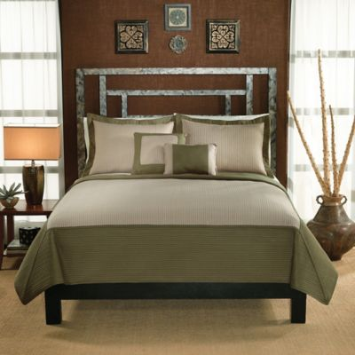 Barclay Full/Queen Quilt Set in Sage/Tan
