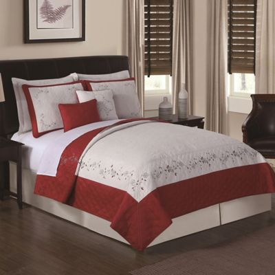 Constance Loganberry Embroidered Queen Quilt Set in Red/White