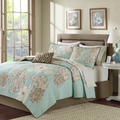 Madison Park Avalon Twin Coverlet Set in Aqua/Brown