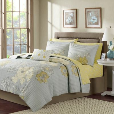 Madison Park Avalon California King Coverlet Set in Grey/Yellow