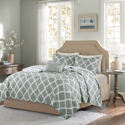 Madison Park Essentials Merritt Reversible Full/Queen Coverlet Set in Aqua