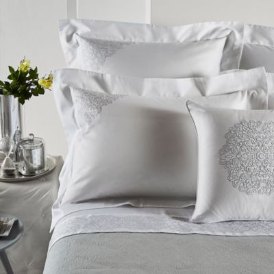 Frette At Home Noto Ricamo Standard Pillow Sham in White/Stone
