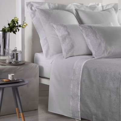 Frette At Home Noto Ricamo Standard Pillowcases in White/Stone (Set of 2)