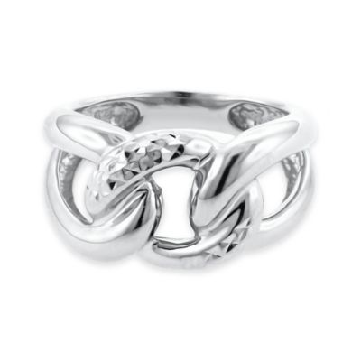 Sterling Silver Size 7 Ladies' Diamond-Cut Chain Link Ring