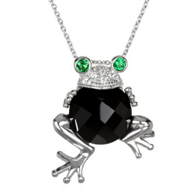 Chi Chi Sterling Silver Onyx, Cubic Zirconia and Simulated Emerald Frog Pendant Necklace