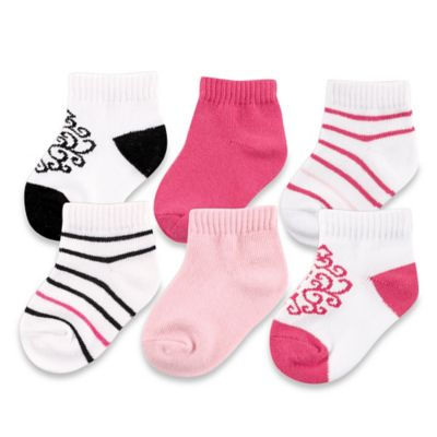 BabyVision® Yoga Sprout™ Size 0-6M 6-Pack Damask No-Show Socks