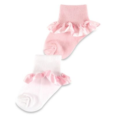 BabyVision® Luvable Friends® Size 0-6M 2-Pack Satin Ruffle Baby Socks in Light Pink/White