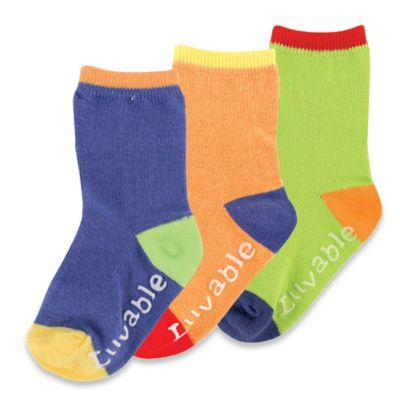 BabyVision® Luvable Friends® Size 6-12M 3-Pack Kickproof Non-Skid Socks in Blue/Orange