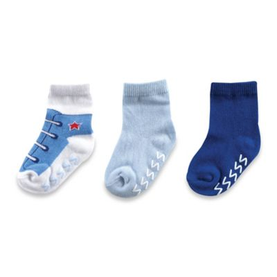 BabyVision® Luvable Friends® Size 12-24M 3-Pack Non-Skid Shoe Socks in Blue/White