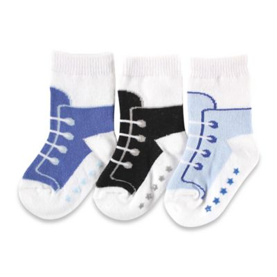 BabyVision® Luvable Friends® Size 0-6M 3-Pack Non-Skid Shoe Socks in Blue