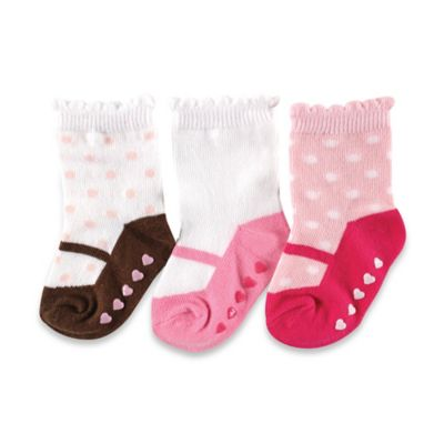 BabyVision® Luvable Friends® Size 12-24M 3-Pack Non-Skid Shoe Socks in Pink/Brown/Red