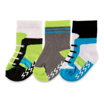 BabyVision® Luvable Friends® Size 0-6M 3-Pack Non-Skid Shoe Socks in Blue/Brown/Green