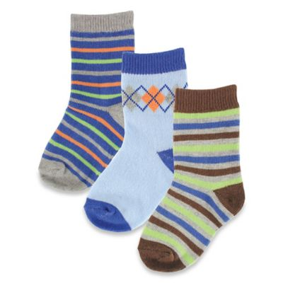 BabyVision® Luvable Friends® Size 0-6M 3-Pack Fashion Socks in Blue/Green/Brown