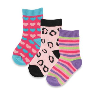 BabyVision® Luvable Friends® Size 12-24M 3-Pack Fashion Socks in Pink/Blue/Brown