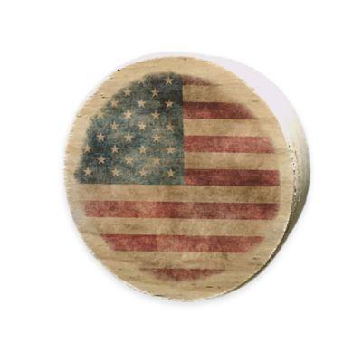 USA Flag Wood Bourbon Wood Barrel Bung Magnet