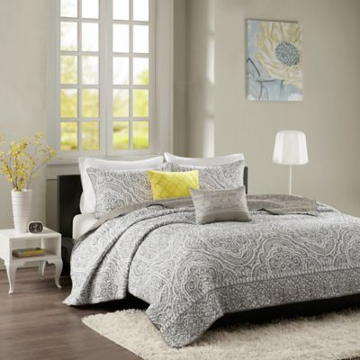 Intelligent Design Nessa Twin/Twin XL Coverlet Set in Grey