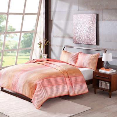Madison Park ECO Weave Tempo Twin Coverlet Set in Coral/Orange