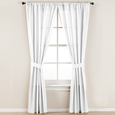 Smoothweave™ 63-Inch Tailored Rod Pocket Window Curtain Panel with Tie Back in White